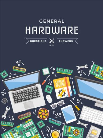 Hardware Tips with Gadgets on table Poster US Design Template