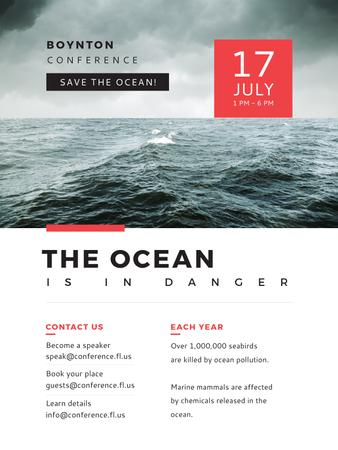 Ontwerpsjabloon van Poster US van Ecology Conference Stormy Sea Waves