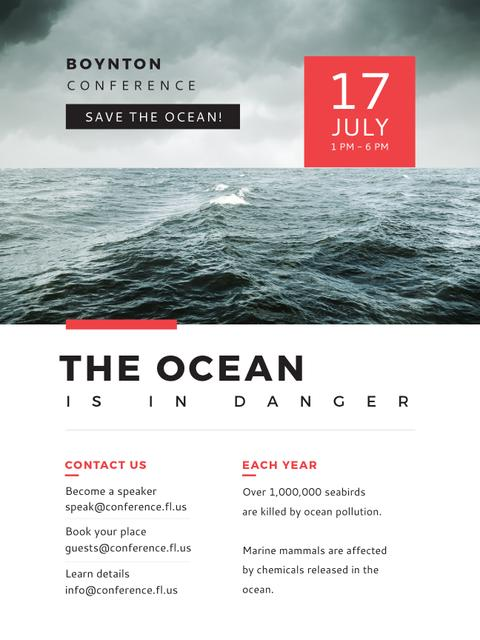 Ecology Conference Stormy Sea Waves Poster US Modelo de Design