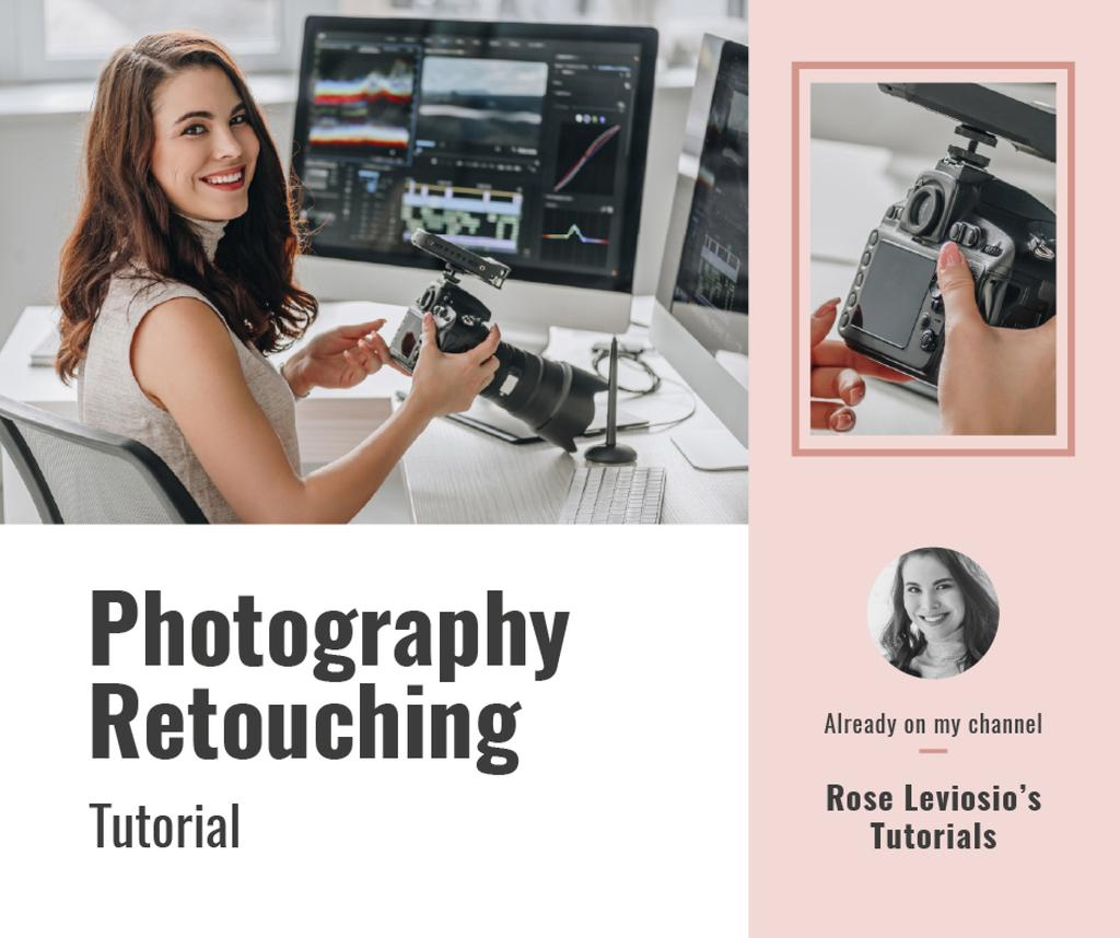 Retouching Services Woman Working on computer — Створити дизайн