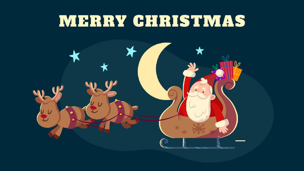 Christmas Greeting Santa Riding in Sleigh — Crear un diseño