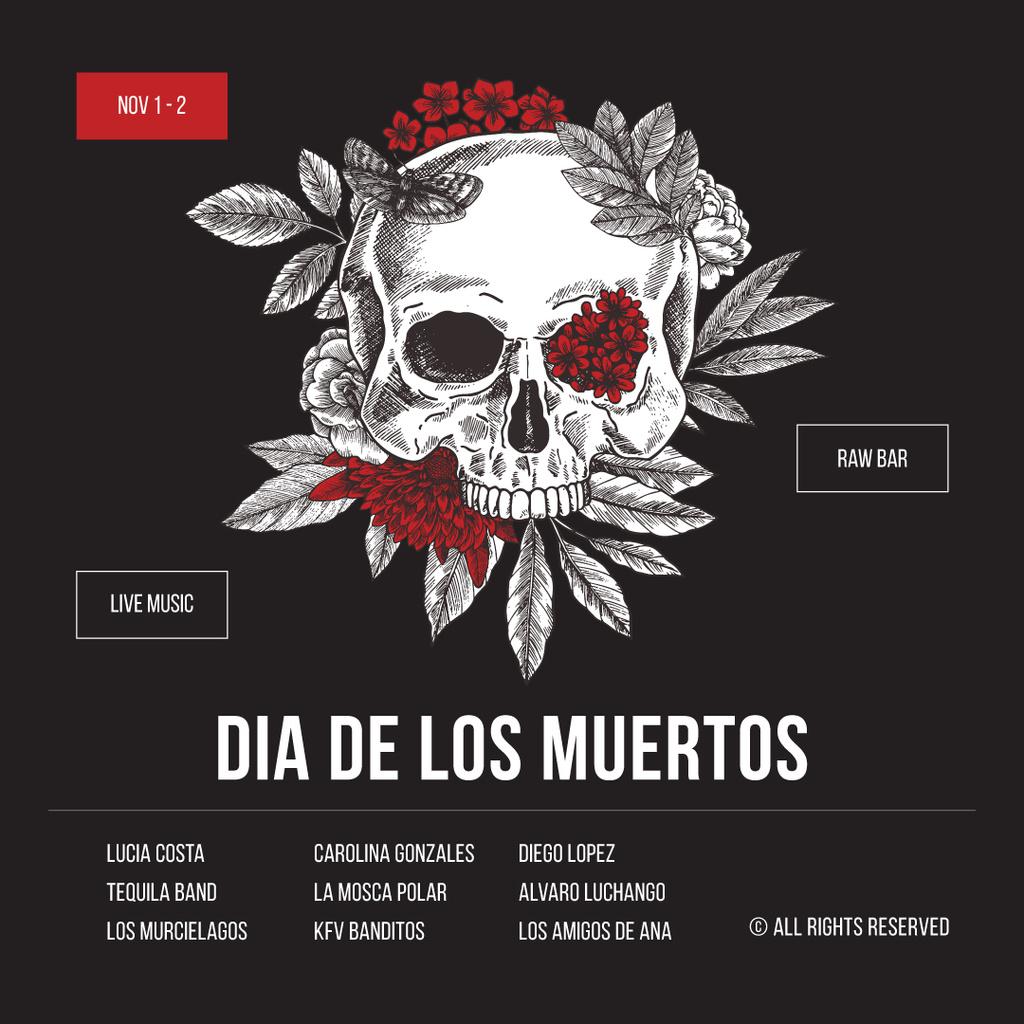Skull decorated with flowers for Dia de los Muertos — Crea un design