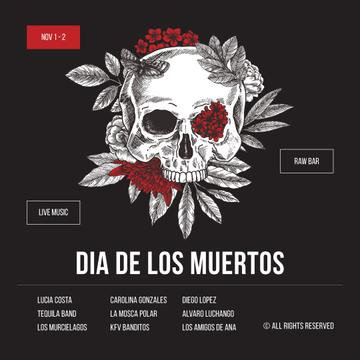 Skull decorated with flowers for Dia de los Muertos