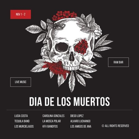 Skull decorated with flowers for Dia de los Muertos Instagram AD – шаблон для дизайну