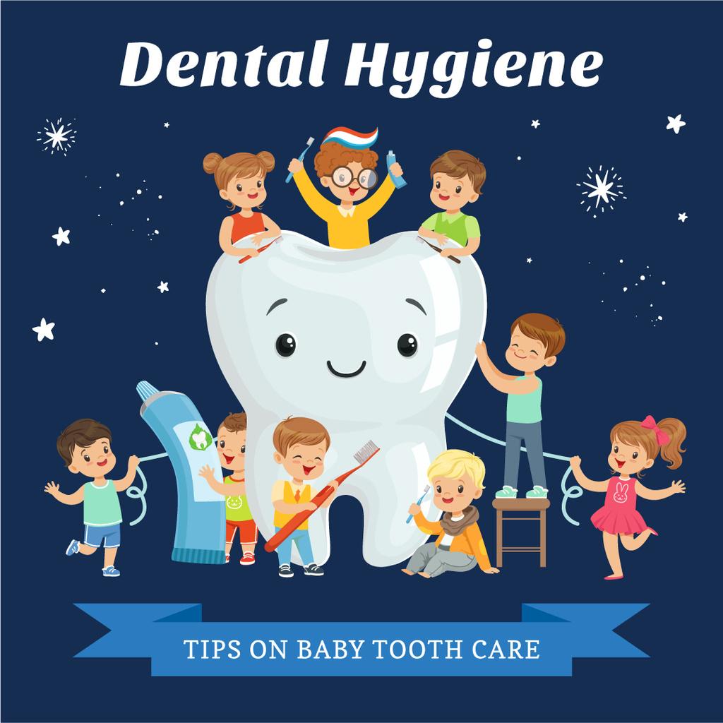 Kids brushing cartoon tooth — Crear un diseño