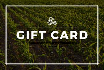 gift card with young corn field