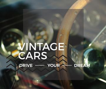 Vintage cars poster with wooden steering wheel