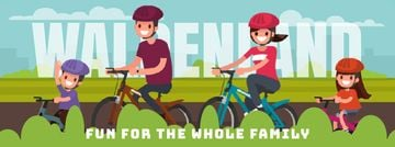 Smiling Family on a Bicycle Ride Facebook Video Cover
