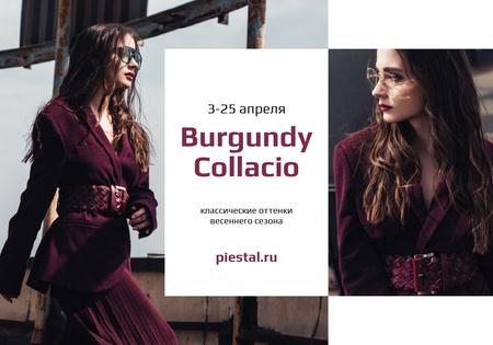Designvorlage Fashion Sale with Stylish Woman in sunglasses für VK Universal Post