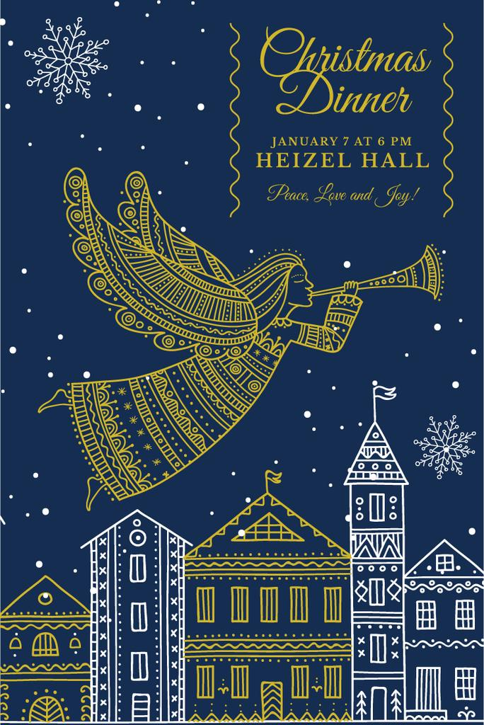 Christmas Dinner Invitation Angel Flying over City | Pinterest Template — Create a Design