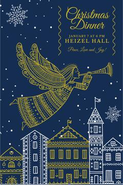 Christmas Dinner Invitation Angel Flying over City | Pinterest Template