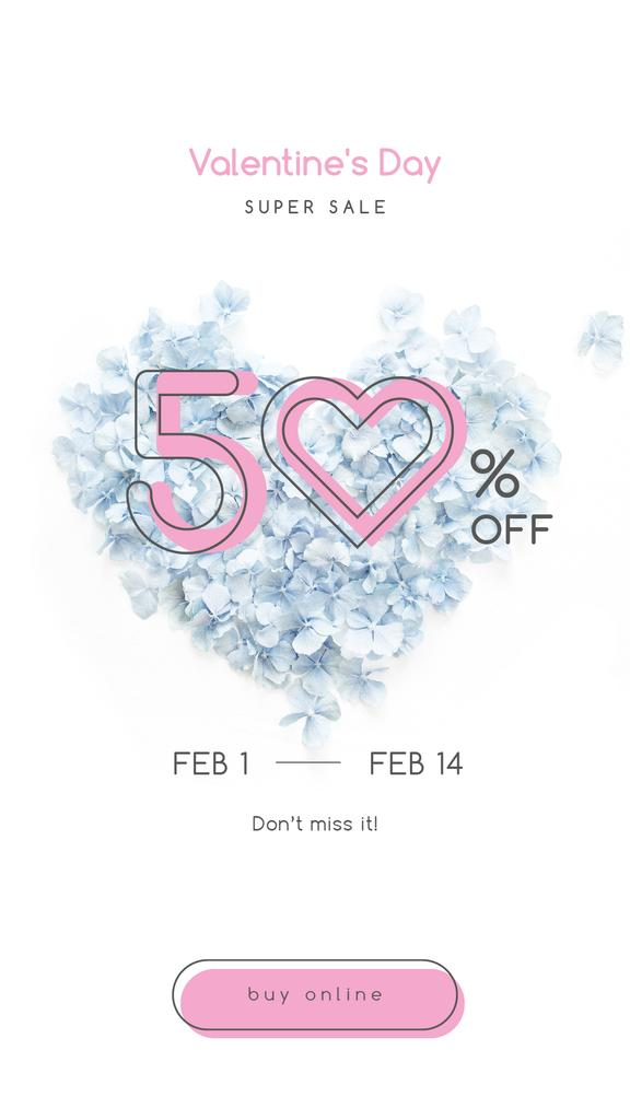 Valentines Offer with Heart-shaped Flowers — Maak een ontwerp
