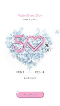 Valentines Offer with Heart-shaped Flowers