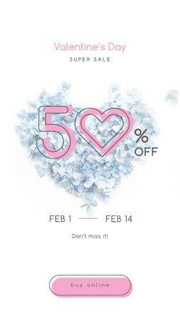 Plantilla de diseño de Valentines Offer with Heart-shaped Flowers Instagram Story