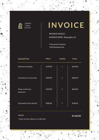 Plantilla de diseño de Real Estate Services in White Frame Invoice