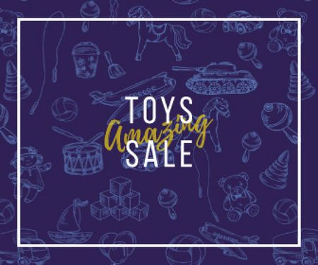 Template di design Different Kids' Toys Sale in Blue Large Rectangle
