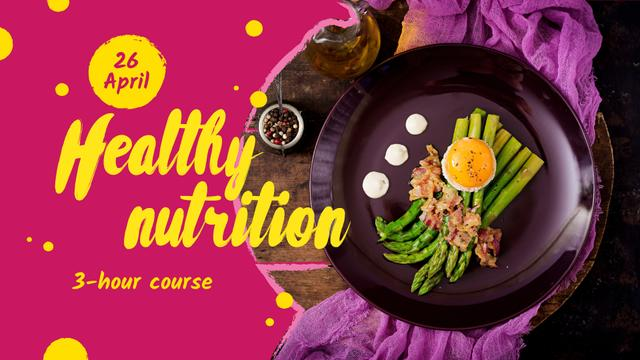 Designvorlage Seasonal Menu offer with green asparagus für FB event cover