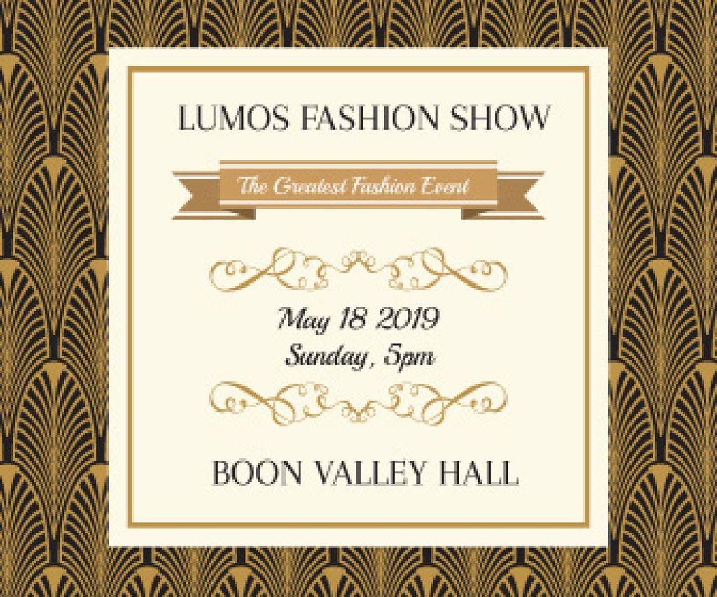 Fashion Show Invitation Golden Art Deco Pattern — Створити дизайн