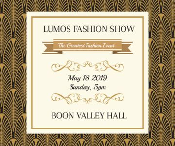 Fashion Show Invitation Golden Art Deco Pattern | Large Rectangle Template