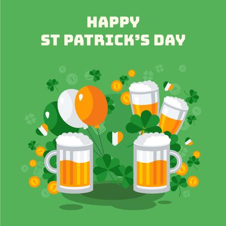 Ontwerpsjabloon van Animated Post van Saint Patrick's Day celebration attributes