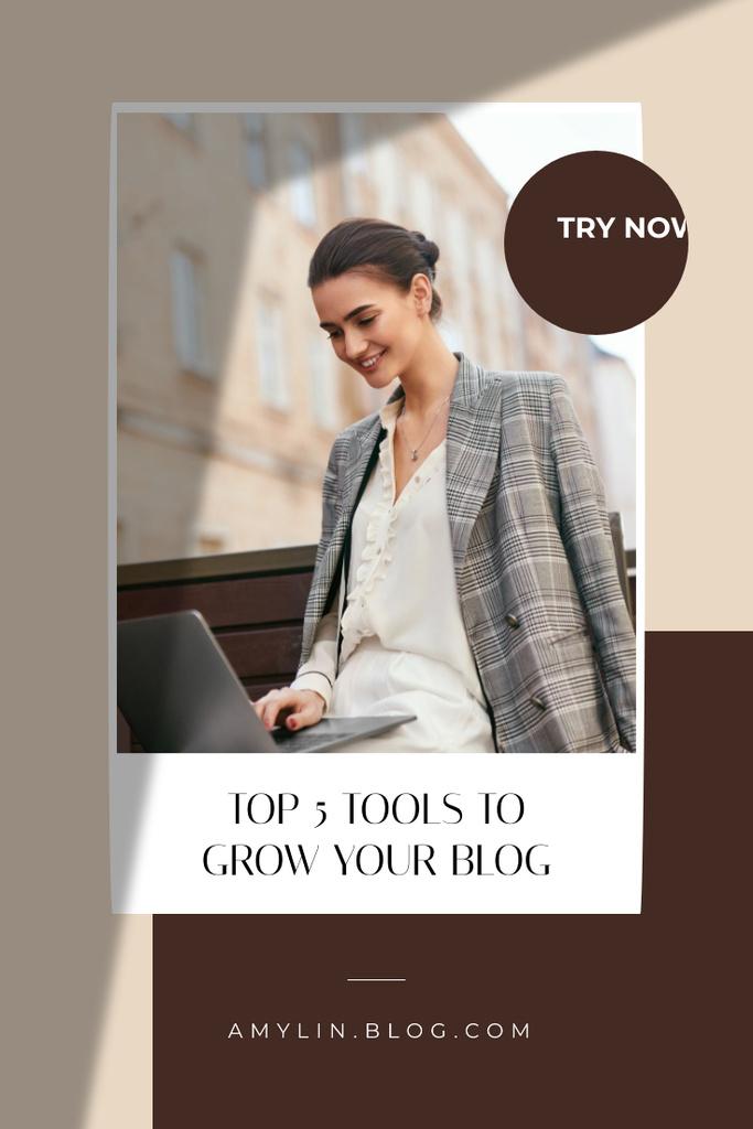 Businesswoman Blogger working on Laptop Pinterest Design Template