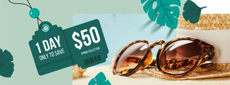 Spring Collection Annoucement with sunglasses and straw hat Facebook cover – шаблон для дизайна