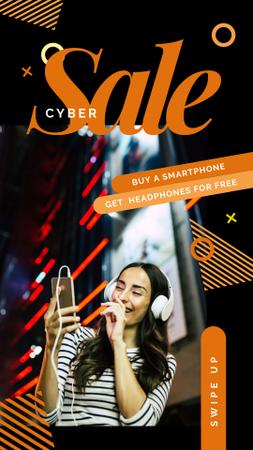 Cyber Monday Sale Woman listening music on smartphone Instagram Story Tasarım Şablonu