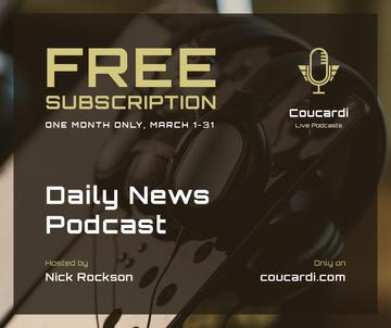 Podcast promotion Headphones in studio