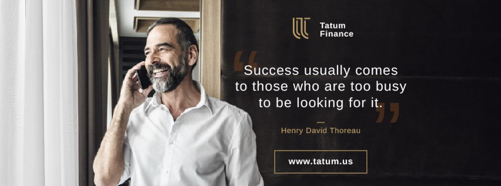 Business Quote Smiling Man Talking on Phone Facebook cover – шаблон для дизайну