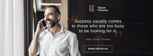 Szablon projektu Business Quote Smiling Man Talking on Phone Facebook cover