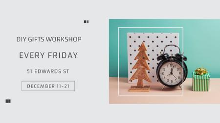 Gifts Workshop invitation with alarm clock FB event cover Modelo de Design