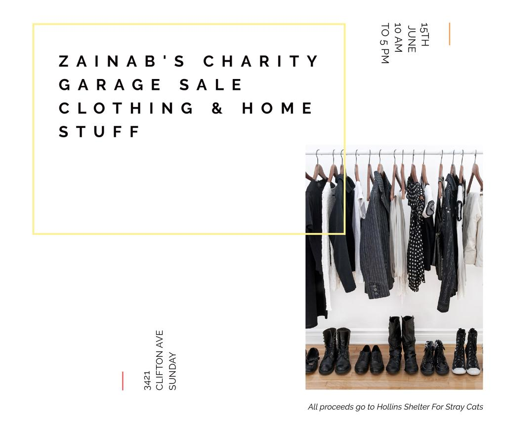 Charity Sale announcement Black Clothes on Hangers — Crea un design