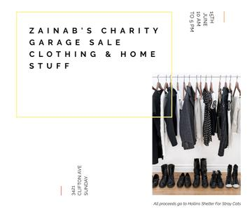 Charity Sale announcement Black Clothes on Hangers