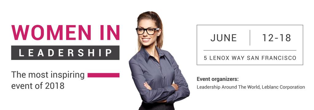 Business Event Announcement Smiling Businesswoman — ein Design erstellen