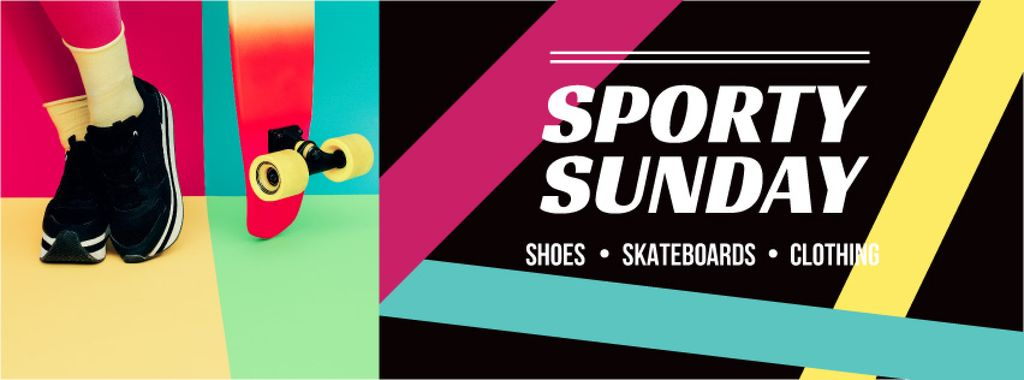 Sports Equipment Ad with Girl by Bright Skateboard — Create a Design