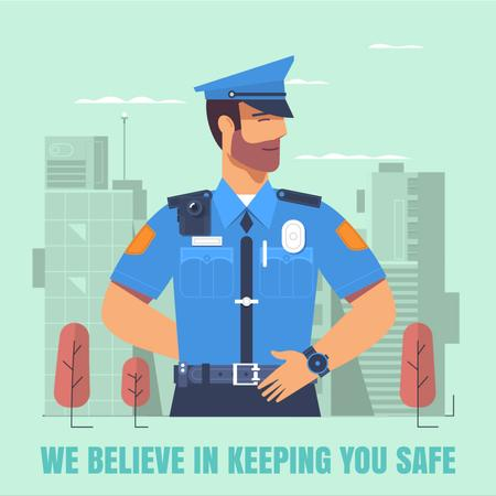 Plantilla de diseño de Police officer in city Animated Post