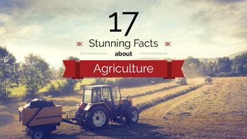 Agricultural Business Tractor Working in Field | Youtube Thumbnail Template