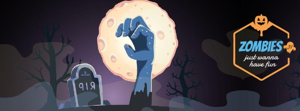Halloween Greeting Zombie at Graveyard — Maak een ontwerp