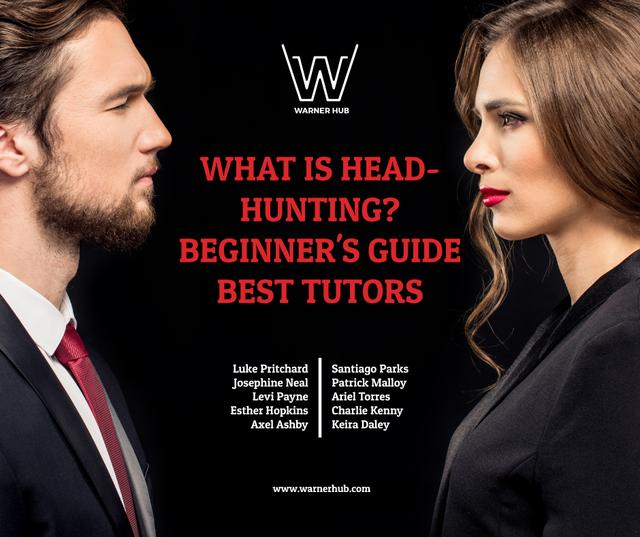 Headhunting event announcement with Businessman and Businesswoman Facebook – шаблон для дизайну