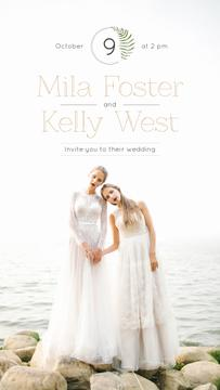 Wedding Invitation Brides in White Dresses at Seacoast | Stories Template