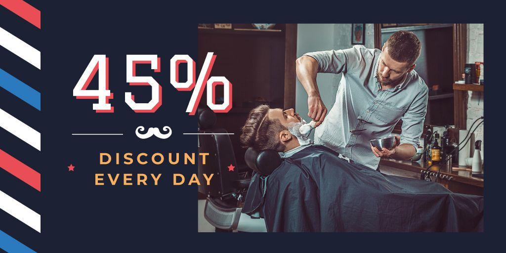 Man shaving at barbershop Twitterデザインテンプレート