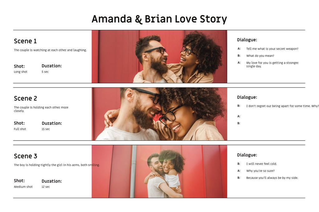 Happy Romantic Couple laughing Storyboard Design Template