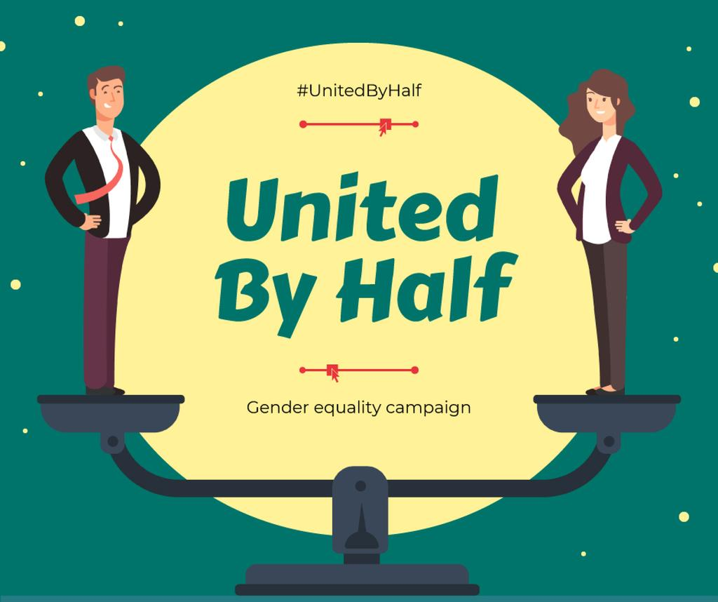 Gender Equality in Business Campaign Ad Businesspeople on Scales — Create a Design