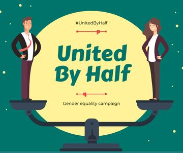 Gender Equality in Business Campaign Ad Businesspeople on Scales | Facebook Post Template