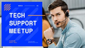 Tech Conference Announcement Customers Support Consultant in Headset | Facebook Event Cover Template