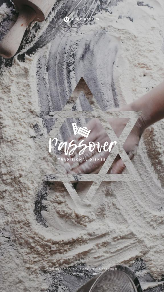 Passover Greeting Cooking Bread Hand in Flour | Vertical Video Template — Créer un visuel