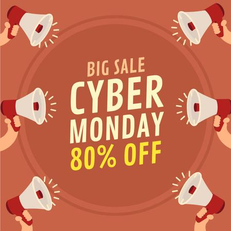 Cyber Monday Ad with Hands Holding Megaphones Animated Post – шаблон для дизайна