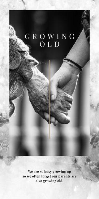Plantilla de diseño de Holding hands with senior woman Graphic