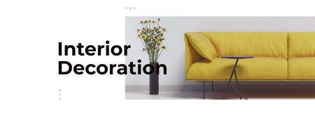 Interior with Sofa in yellow Facebook cover – шаблон для дизайну