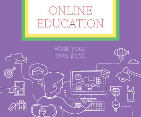 Online education poster Large Rectangle Tasarım Şablonu